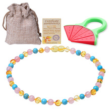 HIYONG Certified Natural Baltic Ambers Baby Teething Necklace, (Multicolor) Beads Stone Jewelry Supplier 33cm