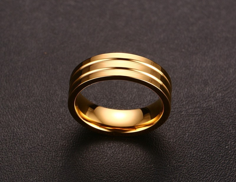 new arrival classic simple plain gold color mens and womens wedding band promise rings titanium steel ring