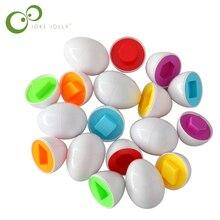 Tong Yizhi Juguetes Educativos para niños, juguete infantil con forma de color que reconoce la forma de huevo a juego, juguetes de madera insertados, rompecabezas S36