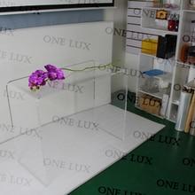 Один люкс водопад элегантный акриловый Ноутбук U стол, Lucite консольный стол. Perspex туалетный столик угловой офисный стол