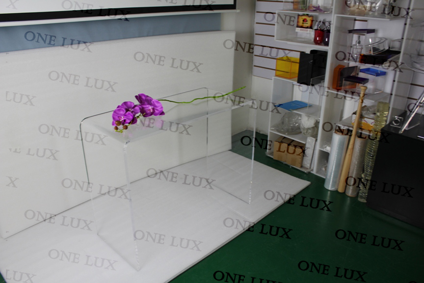 one lux waterfall elegant acrylic laptop u tablelucite console tableperspex vanity corner acrylic office desk