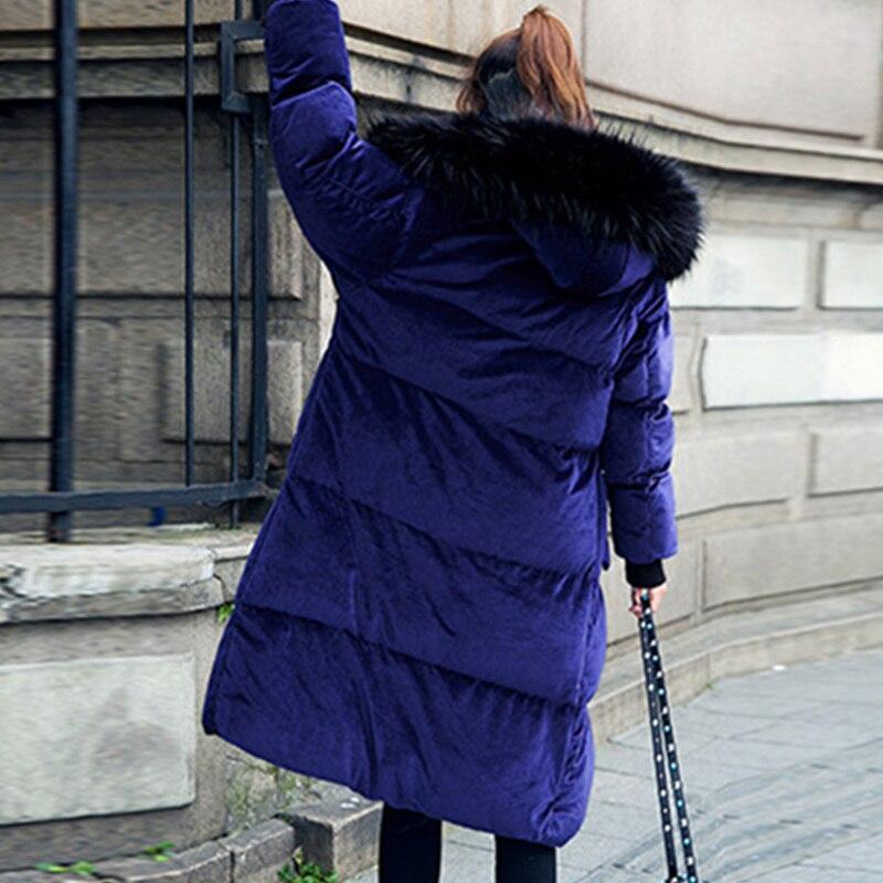 gray Color Jq94 Blue Algodón Moda Cuello Completo Con Largo Espesamiento Femenina Nueva Terciopelo Capucha Mujeres Sólido Invierno Waisted Parkas Caliente 1CwqHx0n