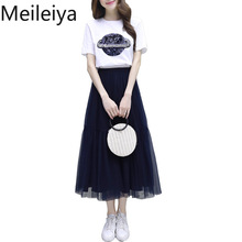 Women's Commuter Geometric Dress 2019 Spring and Summer Style Popular Mesh A Word Dress Set Two-piece