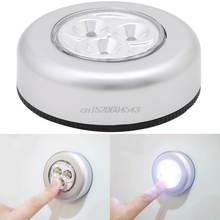 1Pc 3 LED Car Home Wall Camping Touch Light Push Lamp Battery Powered Night Light New R06 Drop Ship