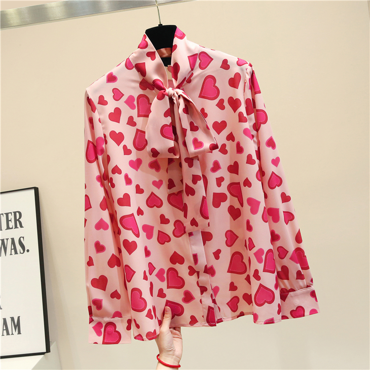 Plus Size Fashion womens top and   blouses   2019 long sleeve chiffon   blouse     shirt   heart print bow collar office   blouse   women