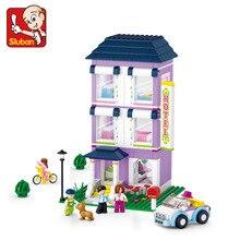 Sluban 541 Pcs Criativo DIY Blocos de Construção de Brinquedo Pequeno Tamanho Albergue Da Juventude Sonho Cor de Rosa Crianças 3D Construção de Brinquedos para Crianças