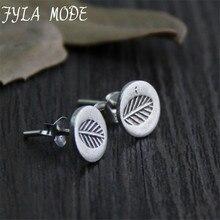 Fyla Mode S925 Sterling Slver Jewelry Retro Handmade Thai Silver Earrings Ladies Carved Leaves Earrings Width 8.30mm 0.86g