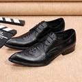 Christia Bella Marca Vintage Hombres Oxford Zapatos de Cuero Genuino Negro Zapatos de Los Hombres de Negocios Los Hombres Zapatos de Vestir Zapatos Formales de La Boda
