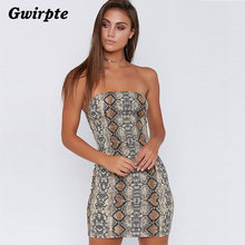 54be588e7e Gwirpte Women Sleeveless Strapless Dresses Snake skin Bodycon Slim Tube dress  with Zipper Summer Fashion Sexy vestido