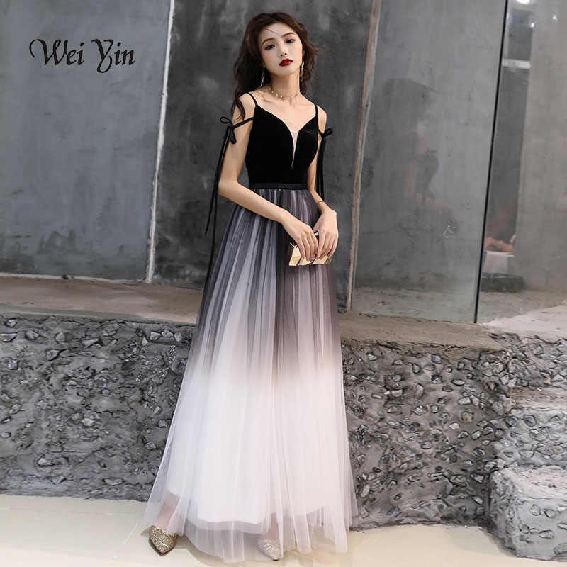 360bb349a81 weiyin robe de soiree Black Sexy Velour Evening Dresses 2019 Deep V Neck  Design Elegant Winter