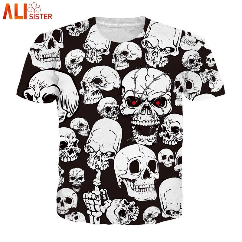 Alisister Crânio Branco Preto T Camisa Impressão 3d Top Verão homens Mulheres Plus Size Camiseta Homme Camisetas Hombre Casuais Streetwear