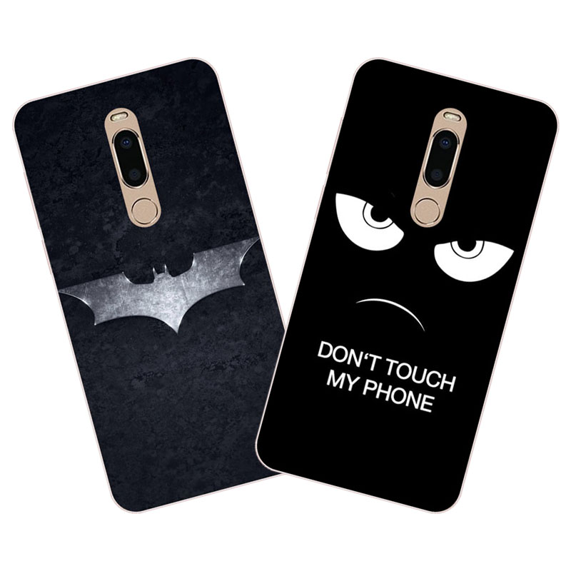 meizu m6t Case,Silicon Black bats cartoon Painting Soft TPU Back Cover for meizu m6t protect cases shell