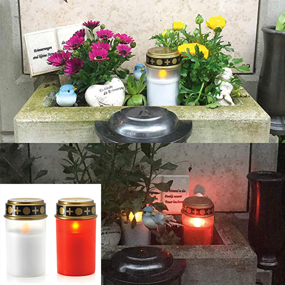 2PCS Kerze Lampe Hause Tee Licht Grab Holloween Friedhof Ritual Energiesparende Dekoration Solar Powered Flammenlose Led Elektronische