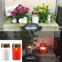 2PCS Kerze Lampe Hause Tee Licht Grab Holloween Friedhof Ritual Energiesparende Dekoration Solar Powered Flammenlose Led Elektronische