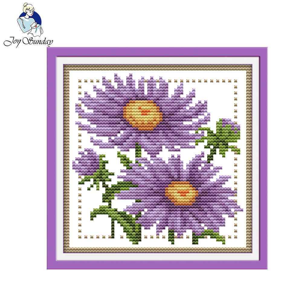 Joy Sunday floral style Twelve months flower September easy small cross  stitch patterns kits for diy craft gifts