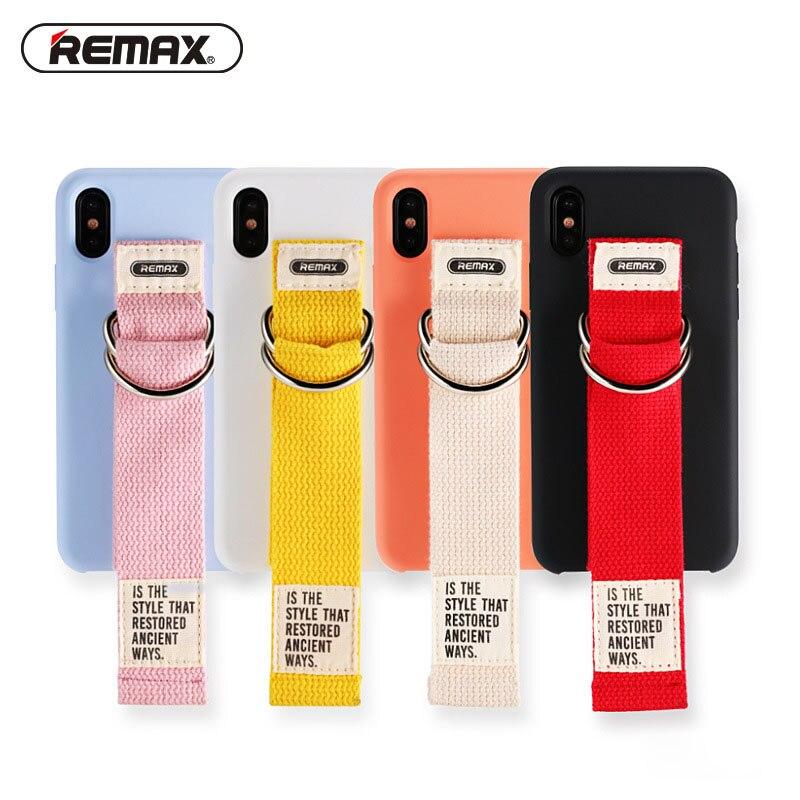 Remax Case For iPhone 7 Plus 8 Plus 10 Cover Korean Girly Wrist Strap Liquid Silicone Original Case For iPhone X 7 8 Plus Funda