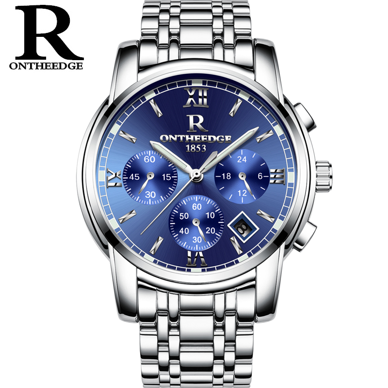 RONTHEEDGE Quartz Watch Stainless Steel Auto Date Chronograph Luxury Business Wristwatches Male Watches with gift box RZY026 jedir chronograph auto date mens watches top brand luxury silver stainless steel wristwatches men male quartz watch 2018