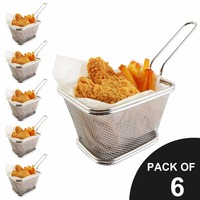 New 6 Pack Chips Fry Baskets Stainless Steel Fryer Basket Strainer Serving Food Presentation French Fries
