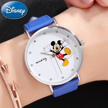 Disney Watch Happiness Mickey Mouse Women Luxury Bling Rhinestone Ladies Fashion Quartz Leather Band Waterproof watches Gift New