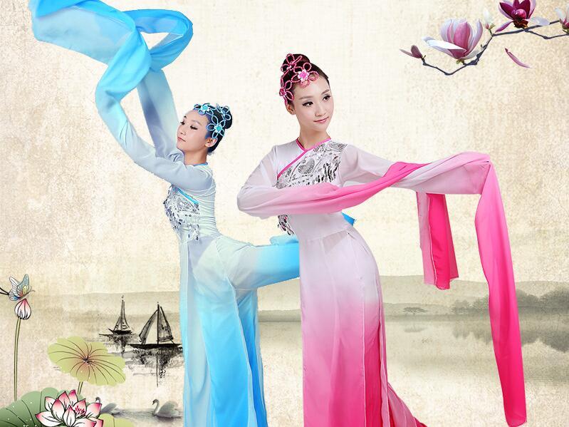 Hiina pikkade varrukatega naiste Yangko tantsukostüüm naiste iidse Hiina rahvariiete kostüüm ja tantsivad tantsijad
