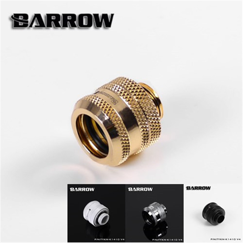 Barrow G1/4'' 12mm 14mm 16mm Hard Pipe Connection Hand Screwed Joint Black/White/Silver/Gold TYKN-K12 TYKN-K1410 TYKN-K16 V4 barrow white black red g1 4 3 8od x 5 8od 10 x 16mm tubing hand compression fittings water cooling fitting