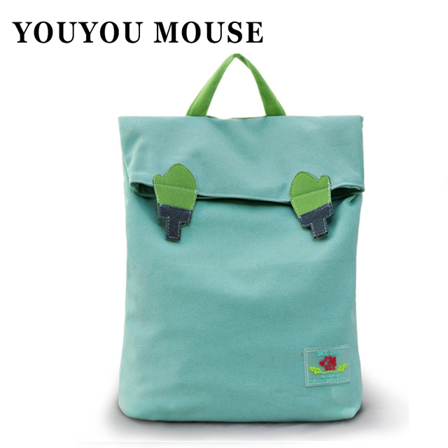 YOUYOU MOUSE Korean Style Shoulders Bag Leisure Breathable Lightweight Canvas Backpacks  Female Solid Color Pattern Schoolbags