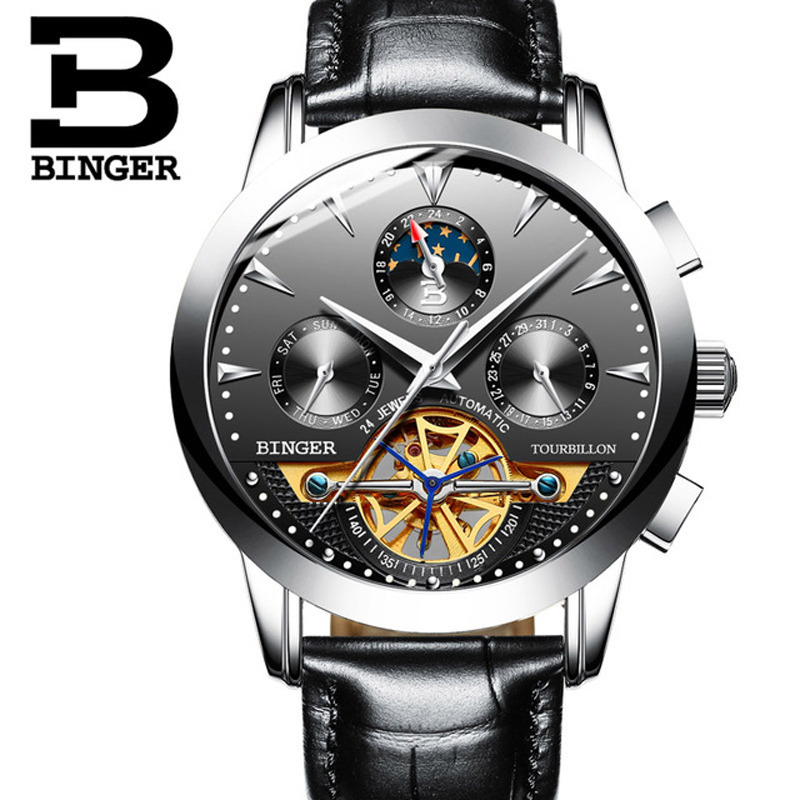 BINGER Tourbillon Automatic Watch Relogio Masculino Self-wind Mechanical Movement Wristwatch Men Leather Male Clock 3ATM