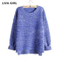 Liva Girl Mujer 2017 Autumn Winter Fashion Split Swallowtail Female Loose Sweaters Round Neck Women Sweaters