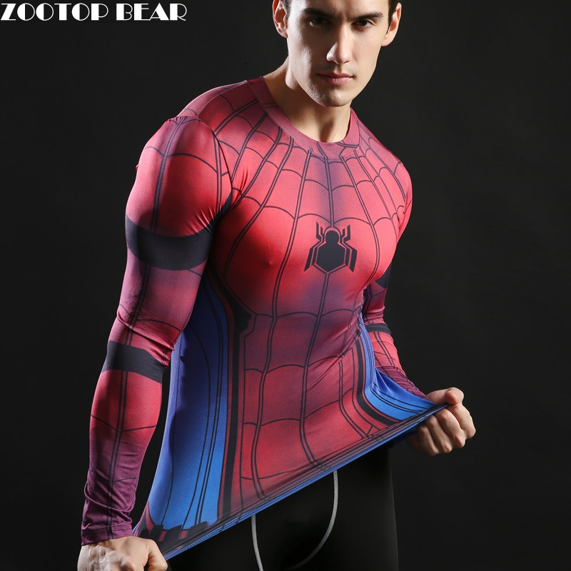 3d Spiderman Tshirts Long Sleeve Tees Novelty Harajuku Comics Spring C