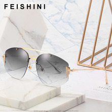 FEISHINI Luxury Brand Designer Classic Eyewear Quality Rimless Sunglasses Ladies Celebrity Original Women Vintage