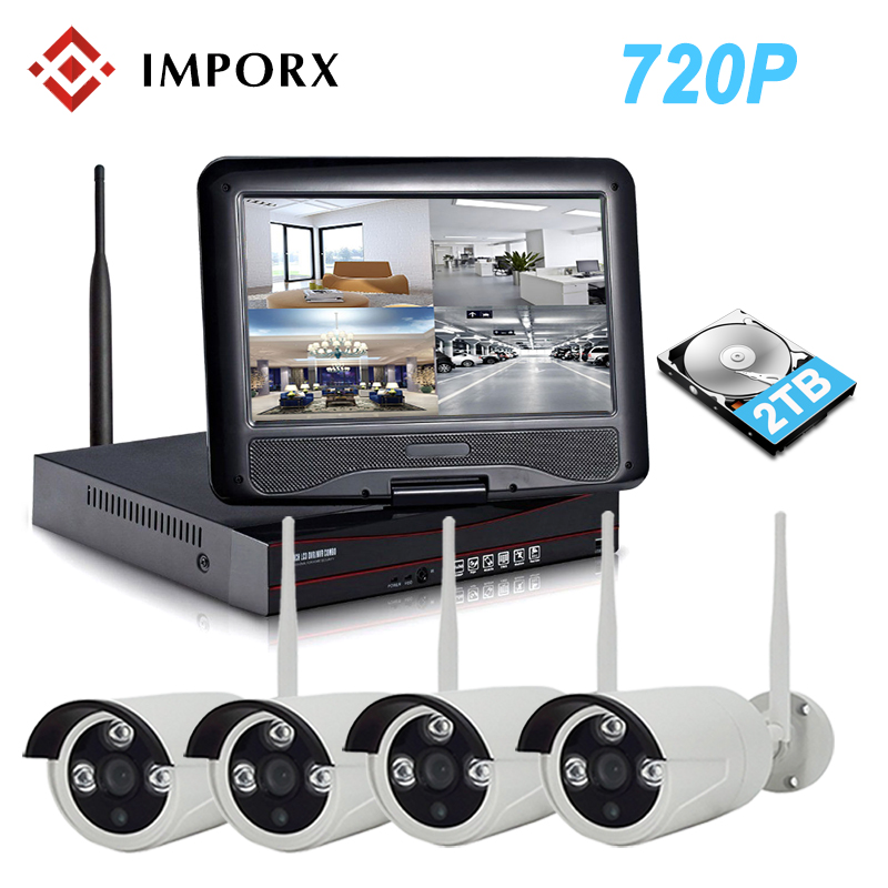 IMPORX 4CH 720P Wireless NVR Kit 10 LCD Monitor Screen P2P CCTV System 1.0MP Wifi IP Camera Outdoor Security Surveillance Kit