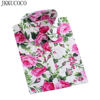 JKKUCOCO Donne Calde Top Shirt A Manica Lunga gira-giù il Collare di alta qualità camicie di Cotone Camicetta Delle Donne Camicie Casual 21 modelli S-5XL