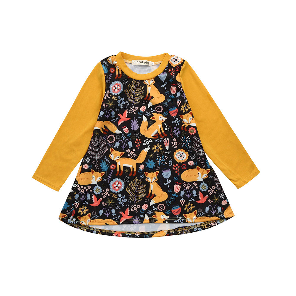 Children Dresses Party Baby Girls Cartoon Fox Print Flower Sun Dress cotton Summer Clothes Animals Baby Girl Dress Custumes