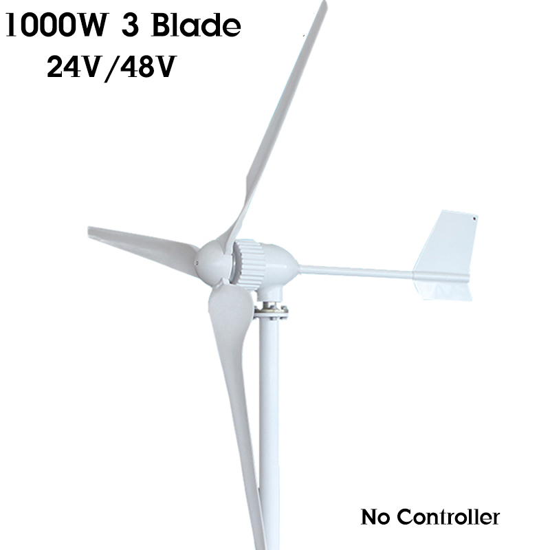 1000W 24V 48 Volt Horizontal Wind Turbines Generator 3 FRP Blades Power Supply Windmill Energy for Home