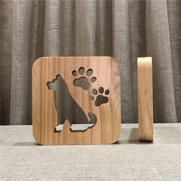 Pata Do Cão de madeira Lâmpada Quarto
