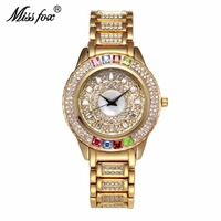 Top Famous Brand Luxury Golden Women Crystal Watches Stainless Rhinestone Bracelet Fashion Ladies Wrist Watch Casual Women Clock