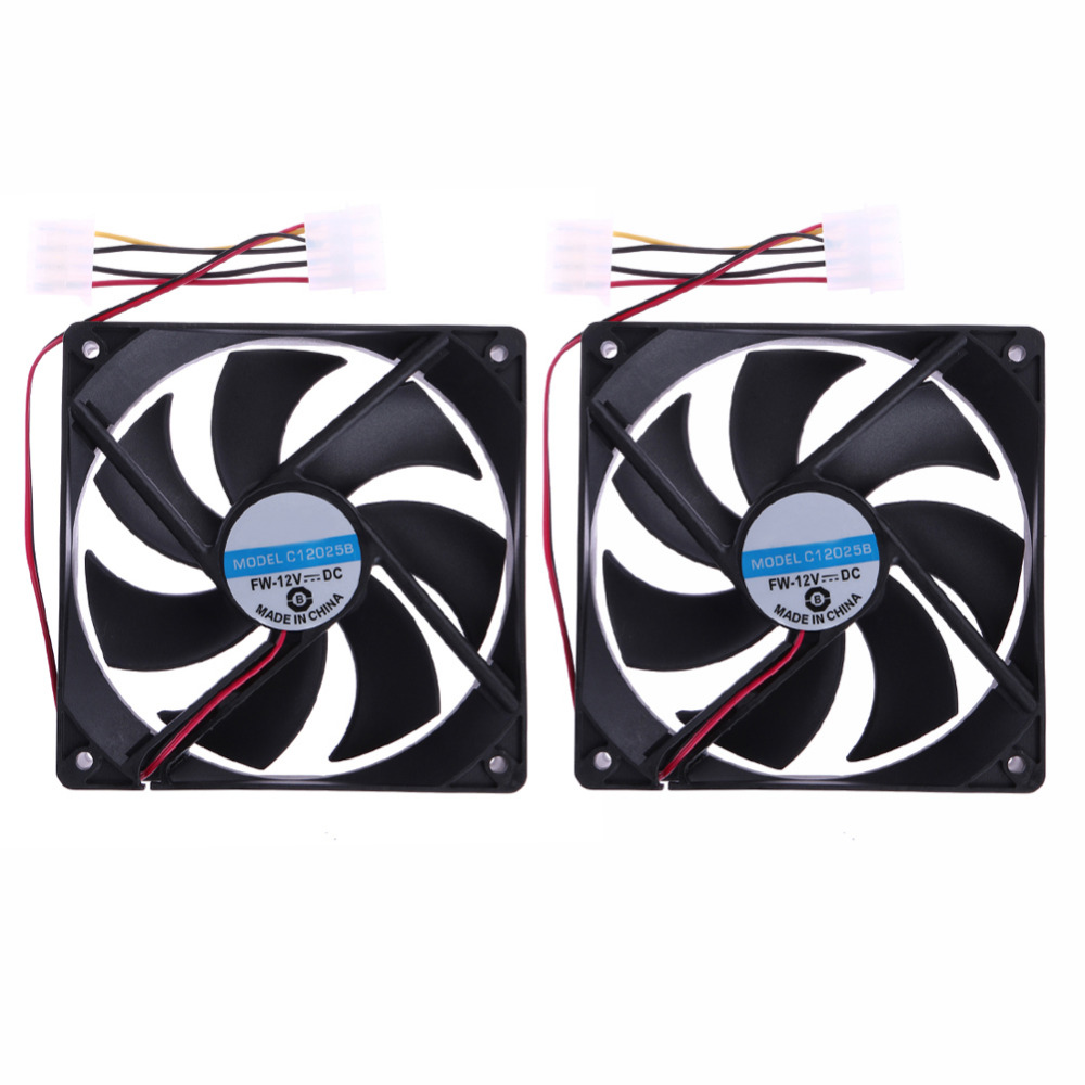 2pcs 120mm 120x25mm 4Pin DC 12V Brushless PC Computer Case Cooling Fan New Promotion adroit new 1800prm 120mm 120x25mm 12v 4pin dc brushless pc computer case cooling fan jul26 drop shipping