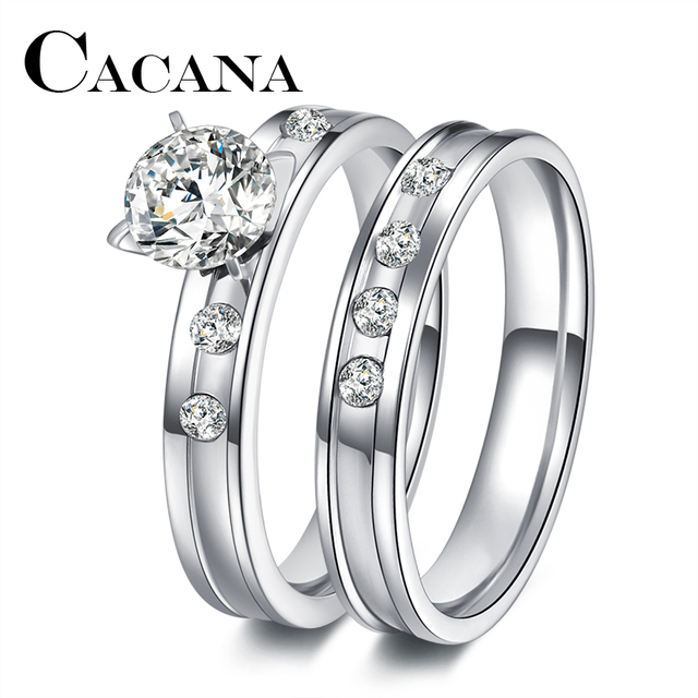 CACANA Stainless Steel Wedding Ring For Lovers IP SILVER Color Crystal CZ  Couple Rings Set Men