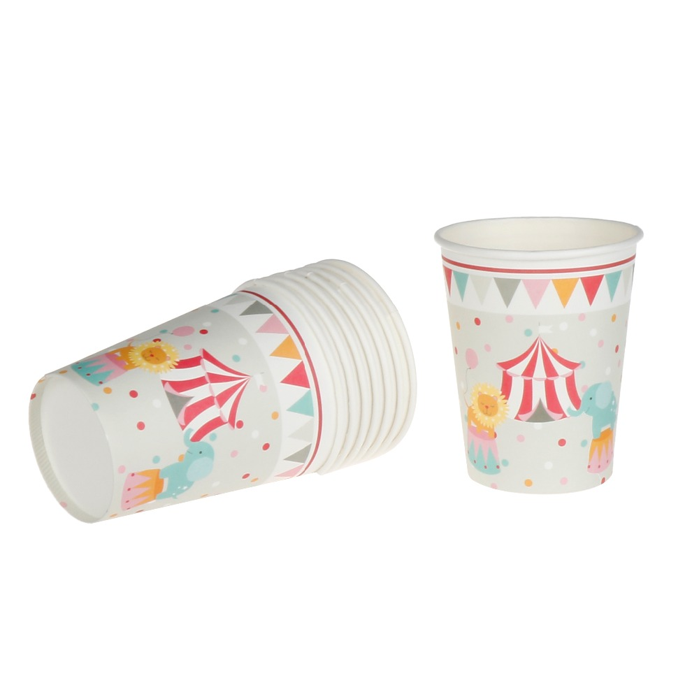 Riscawin 8pcs Lovely <font><b>Circus</b></font> Theme Paper <font><b>Cups</b></font> Disposable Tableware Wedding Birthday Decorations Baby Shower For Kids Girls Boys