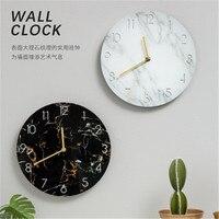 Round Wall Clock Office Home Living Room Kitchen Marble Pattern Uv Board Digital Clock Wall Hanging Coffee Shop Modern Art Clock