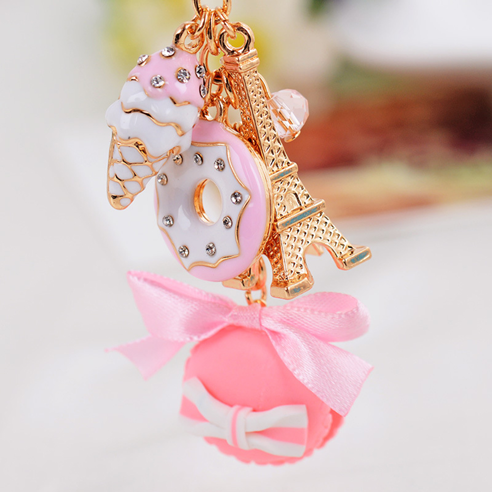 Lovely Keychain Gold Eiffel Tower Pink Macaron Cake Dessert Tower Keychain Women's Handbag Key Ring Key Chain цена