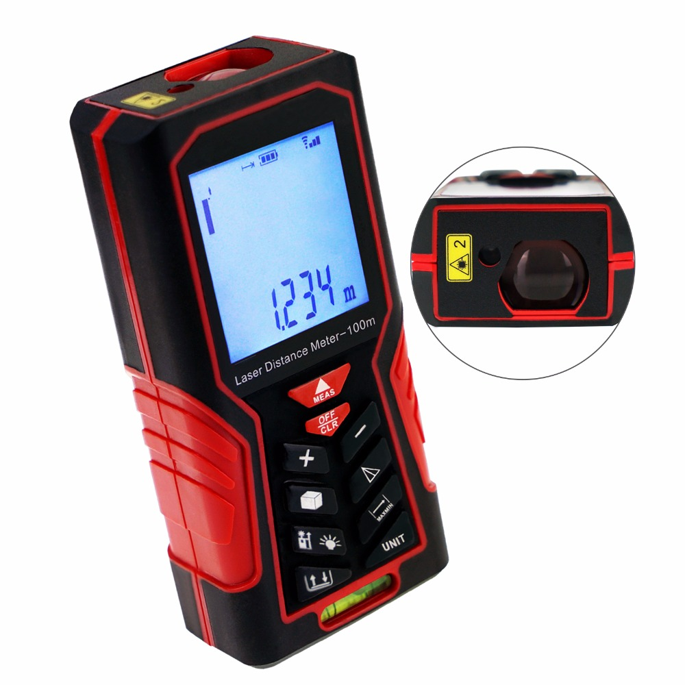 100m (328ft) Digital Laser Distance Meter Measuring Tools Tester Handheld Range Finder Area & Volume  with Spirit Bubble 0 05m 70m 230ft professional handheld laser range finder distance meter tester area volume pythagorean measure tecman tm70
