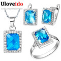 Free Shipping Wholesale 925 Silver Blue Crystal Bridesmaid Wedding Jewelry Sets Necklaces Pendants Ring Earrings Uloveido T008
