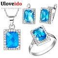 O envio gratuito de atacado 925 prata cristal azul conjuntos de jóias de casamento da dama de honra colares anel brincos uloveido t008