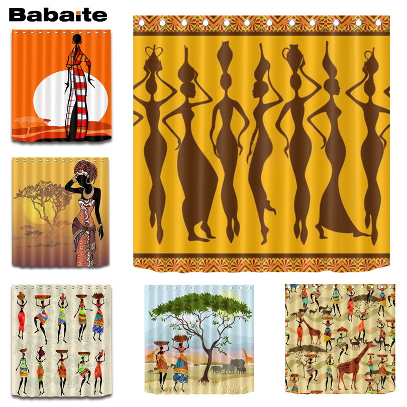 Babaite African Woman Dance Shower Curtain Waterproof Polyester Fabric Bathroom Eco-friendly Rideaux