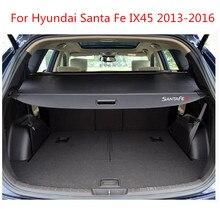 Задняя полка посылки материал крышки багажника занавес задний занавес выдвижной разделитель задние стойки для hyundai Santa Fe IX45 2013