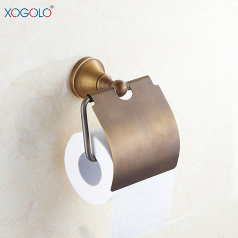 ФОТО Xogolo Bathroom Antique Toilet Paper Holder Solid Copper Durable Towel Roll Paper Holder Accessories High Quality