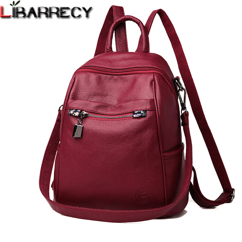 Fashion Leather Backpack Female Brand Zipper Women Backpack Large Capacity School Bag Designer Simple Shoulder Bags for Women