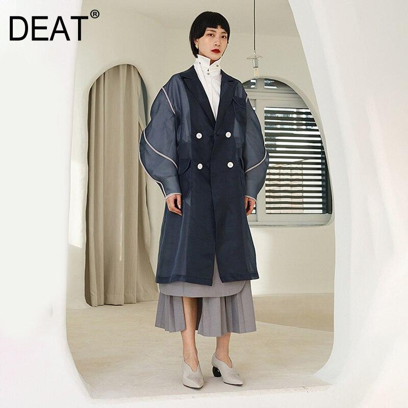 DEAT 2019 New Spring Summer Lapel Long Sleeve Organza Split Joint Pocket Spliced Windbreaker Women   Trench   Fashion Tide JR448