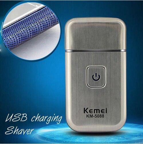 KM-5088 dos homens Cuidados Pessoais Mini USB de Carregamento Sem Fio Viagem Shaver Face Care Facial Limpeza Navalha Aparador de Barba
